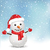The snowman with red scarf and red hat on the snowfall background