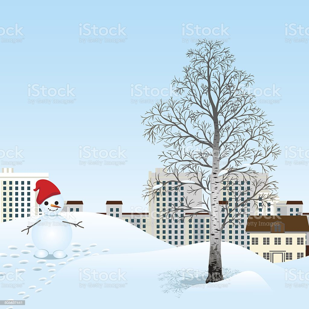 snowman and tree on a background of city royalty-free stock vector art