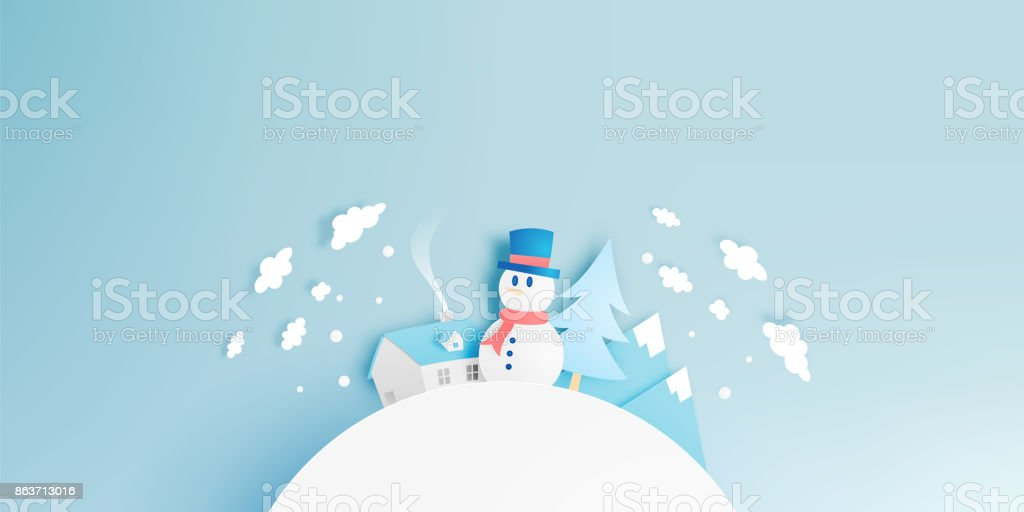 Bonhomme de neige et hiver paysage avec papier art style et pastel des couleurs - Illustration vectorielle