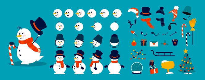 Snowman animation kit. Christmas construction elements, combinations of heads, body and arms in different poses. Winter hats, scarves and objects decorating snow figures, vector set