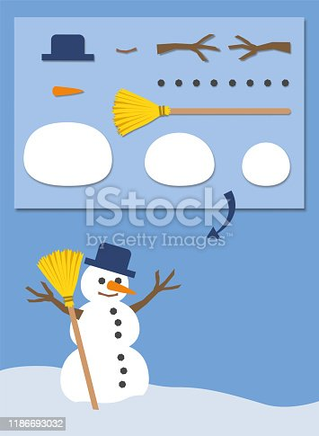 Snowman assembly instruction. Easy set with his single parts. Vector comic illustration on blue background.