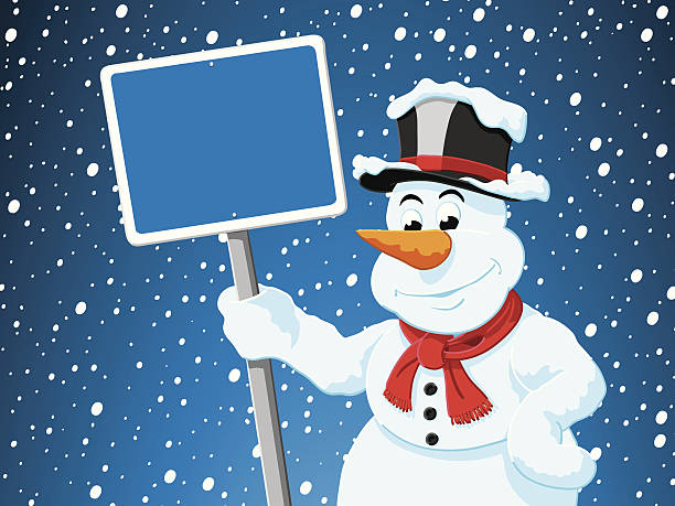 Snowman Blank Sign Snowing Winter Vector Illustration of a Snowman with a blank blue sign in front of a snowy sky. All objects are on separate layers. The colors in the .eps-file are ready for print (CMYK). Included files are EPS (v10) and Hi-Res JPG. cartoon people sign stock illustrations