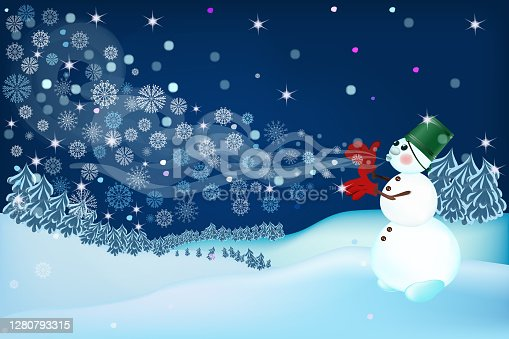 istock A snowman blowing cool snowflakes and making a Blizzard and wind. Decorative Christmas and new year vector illustration. A fabulous image for a holiday, greeting card or banner. 1280793315