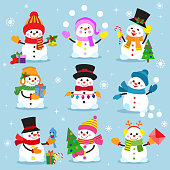Snowman cartoon winter christmas character holiday merry xmas snow boys and girls vector illustration. snowflake new year decoration celebration greeting elements.