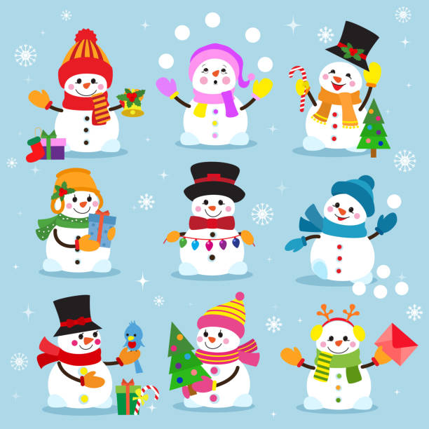 Snowman cartoon winter christmas character holiday merry xmas snow boys and girls vector illustration Snowman cartoon winter christmas character holiday merry xmas snow boys and girls vector illustration. snowflake new year decoration celebration greeting elements. snowman stock illustrations