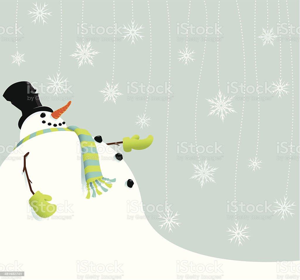 Snowman catching snowflakes vector art illustration