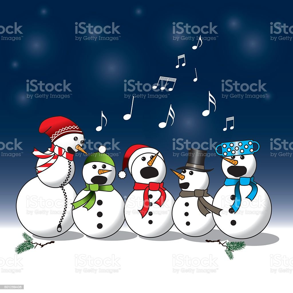 Snowman choir -carol vector art illustration