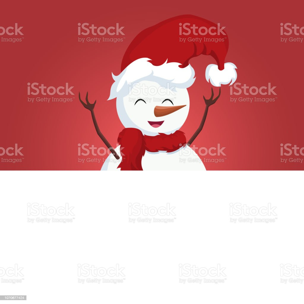 Snowman christmas card over white poster vector art illustration