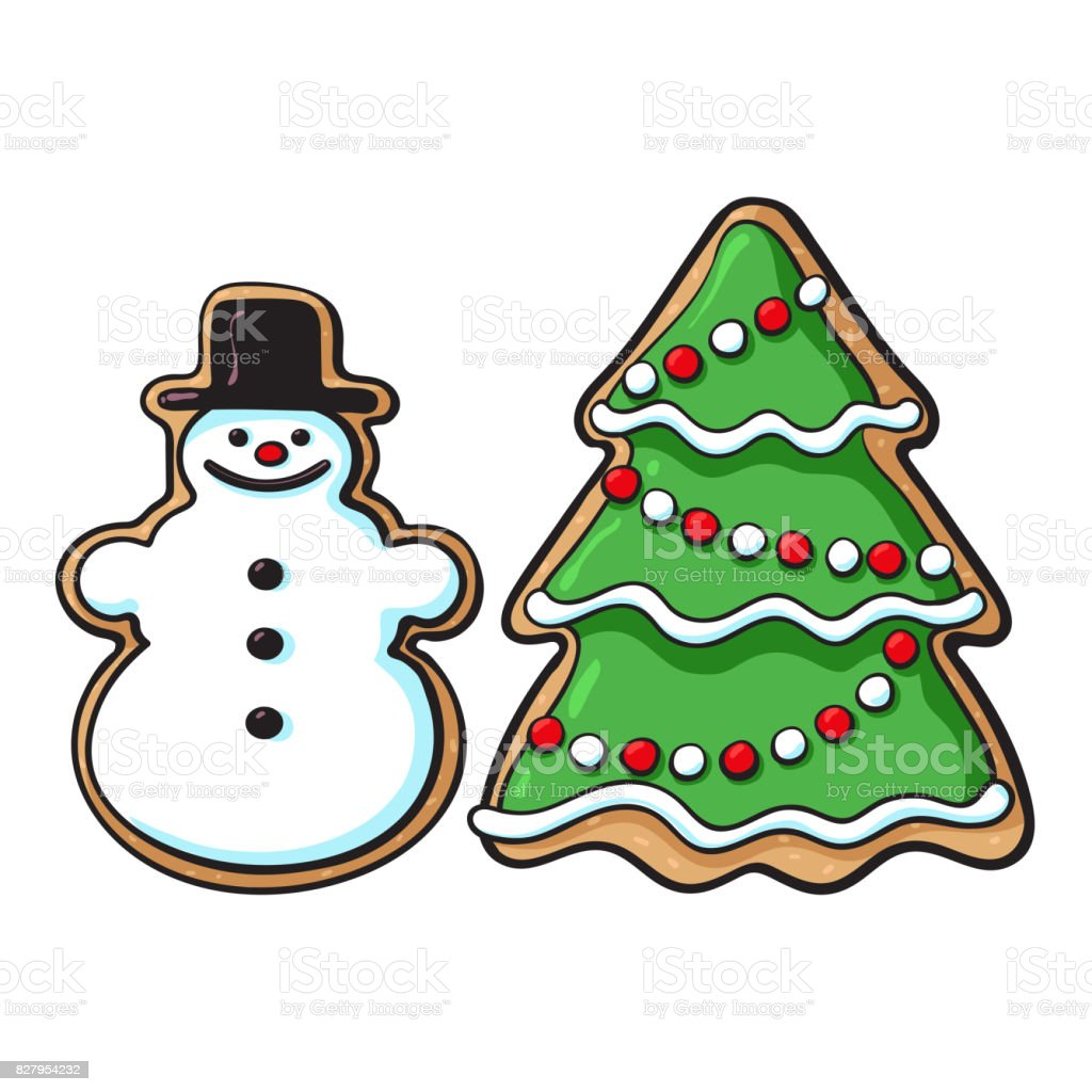 Snowman Christmas Tree Glazed Gingerbread Cookies Stock Illustration Download Image Now Istock