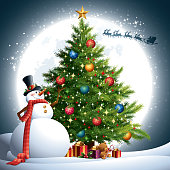 - snowman with christmas tree