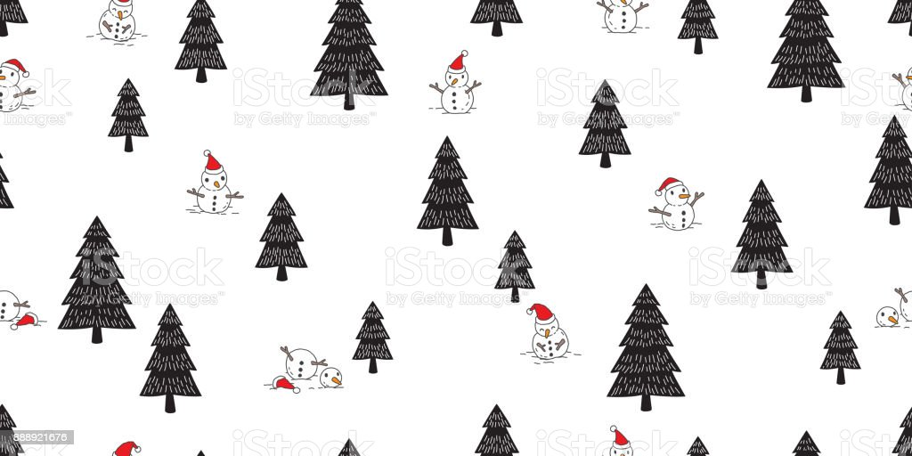 snowman christmas tree wood forest snow santa claus vector seamless pattern wallpaper royalty free snowman