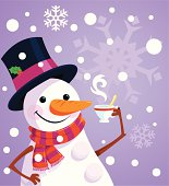 Snowman with a cup of coffee in hand