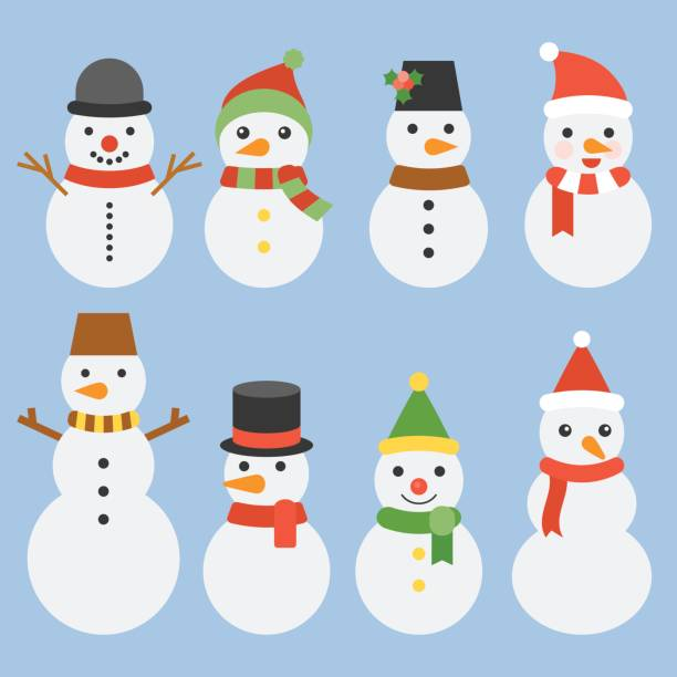 Snowman collection for christmas and winter Snowman collection for christmas and winter, cute character flat design vector snowman stock illustrations