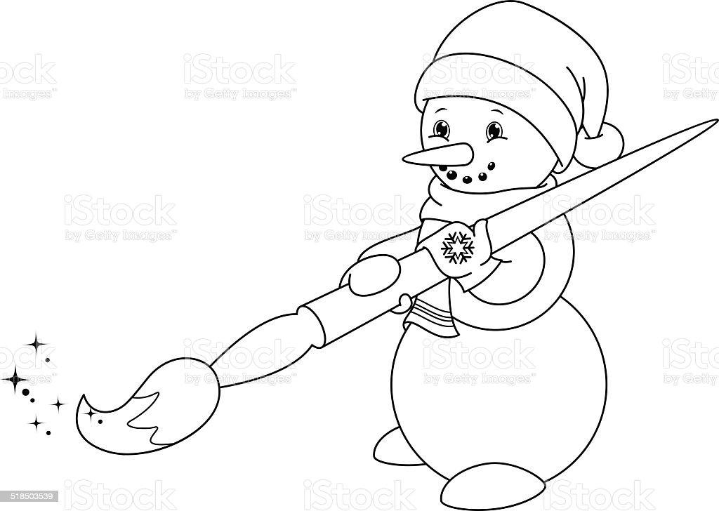 Ilustración De Muñeco De Nieve Para Colorear Página Y Más Vectores