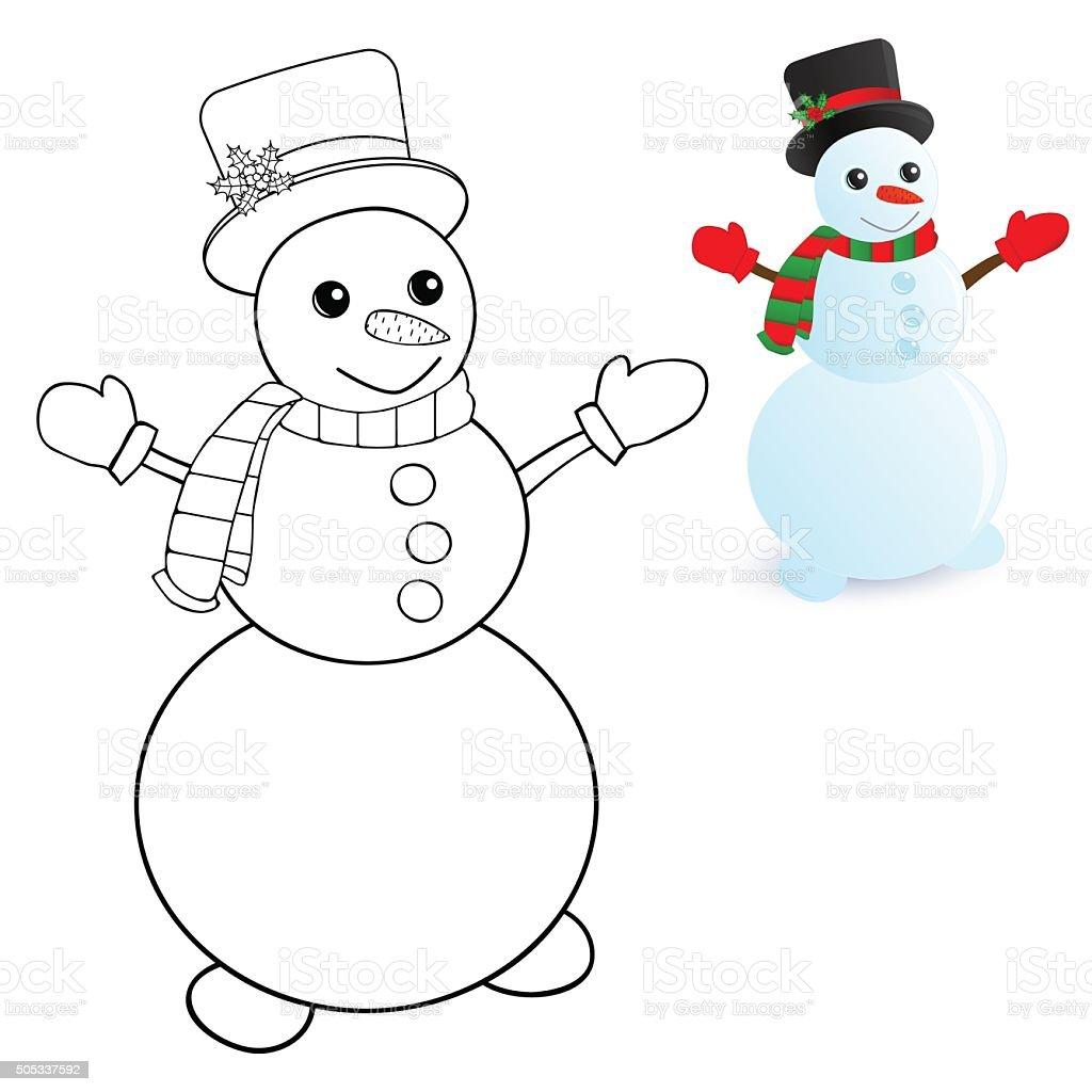 Ilustración de Muñeco De Nieve Para Colorear Páginas y más banco de ...