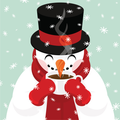 Snowman drinking coffee, hot chocolate,tea...