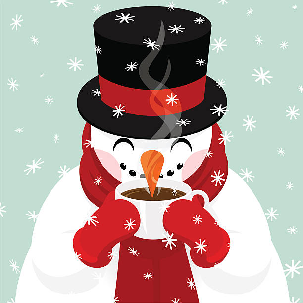 Snowman drinking coffee, hot chocolate,tea... snowman design. Please see some similar pictures in my lightboxs: hot chocolate stock illustrations