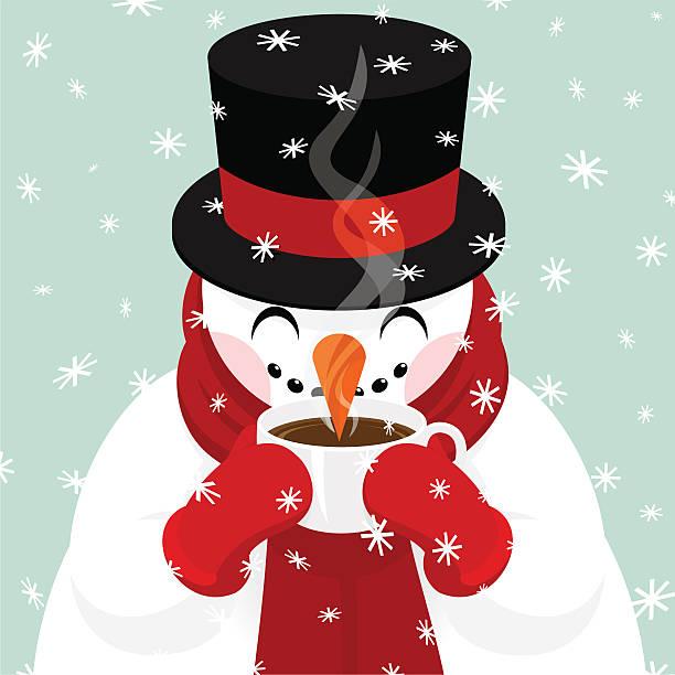 schneemann trinkt kaffee, heiße schokolade oder tee. - weihnachtsschokolade stock-grafiken, -clipart, -cartoons und -symbole