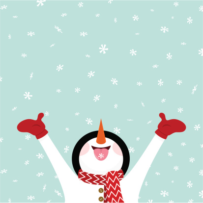 Snowman eating snowflakes / Let it snow illustration vector