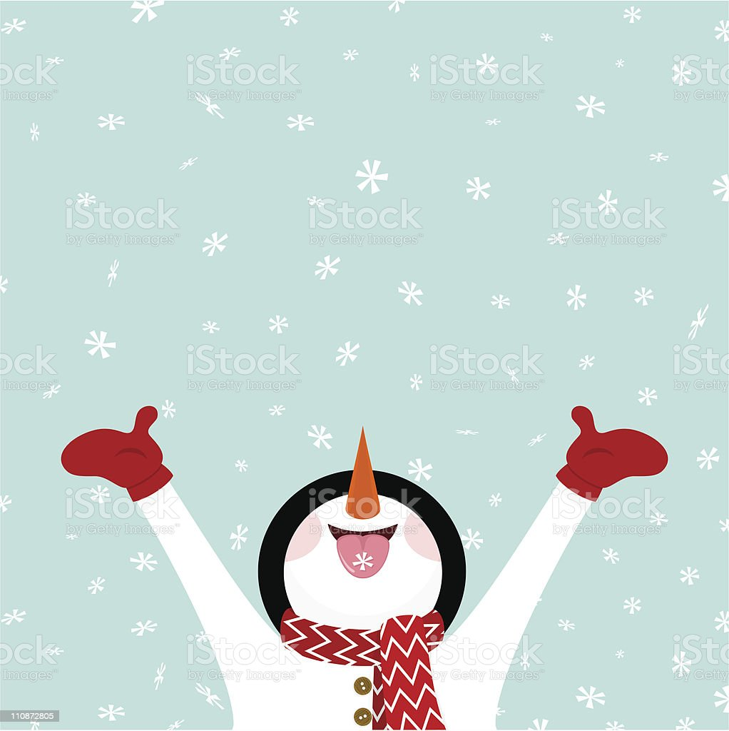 Bonhomme de neige manger et de flocons de neige vector illustration - Illustration vectorielle