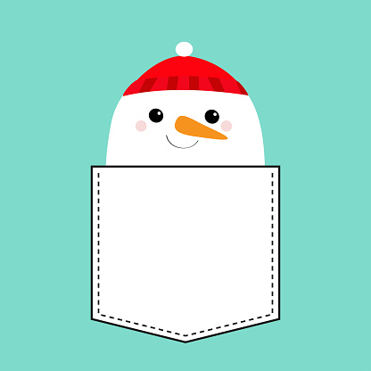 Snowman face head. T-shirt pocket. Carrot nose, red hat. Merry Christmas. Cute cartoon funny kawaii character. Happy New Year. Blue winter background. Greeting card. Flat design.