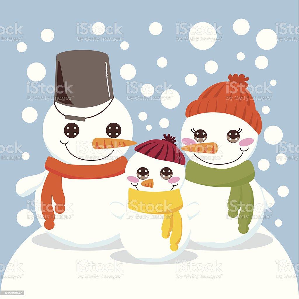 Snowman Family royalty-free stock vector art