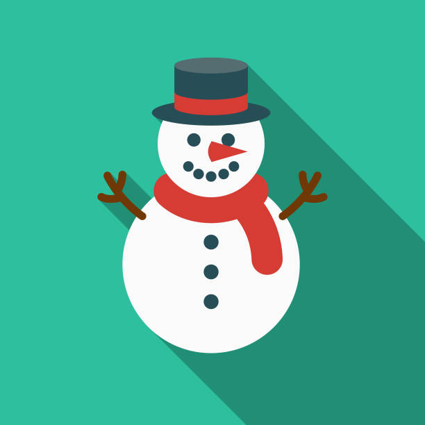 Snowman Flat Design Canadian Icon with Side Shadow A pastel colored flat design Canadian icon with a long side shadow. Color swatches are global so it's easy to edit and change the colors. snowman stock illustrations