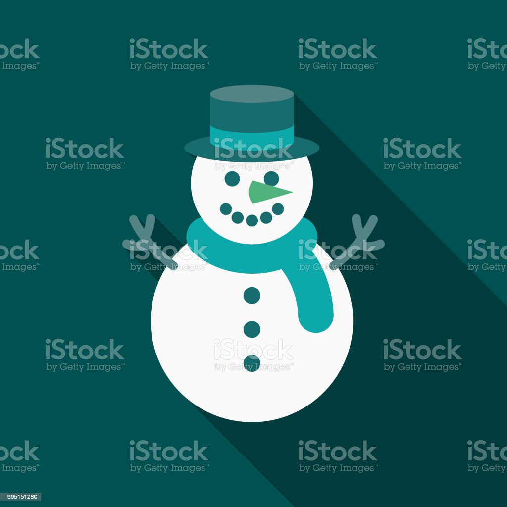 Snowman Flat Design Winter Icon with Side Shadow royalty-free snowman flat design winter icon with side shadow stock illustration - download image now