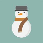istock snowman flat icon, Christmas theme set 1020329894