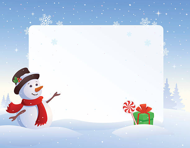 Snowman frame Vector illustration of a snowman with a blank frame background. snowman stock illustrations