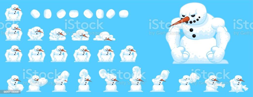 Snowman Game Sprites Stock Illustration - Download Image Now