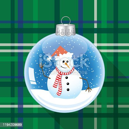Vector illustration of a clear glass christmas ornament with a snowman and snow inside it on a green plaid background.