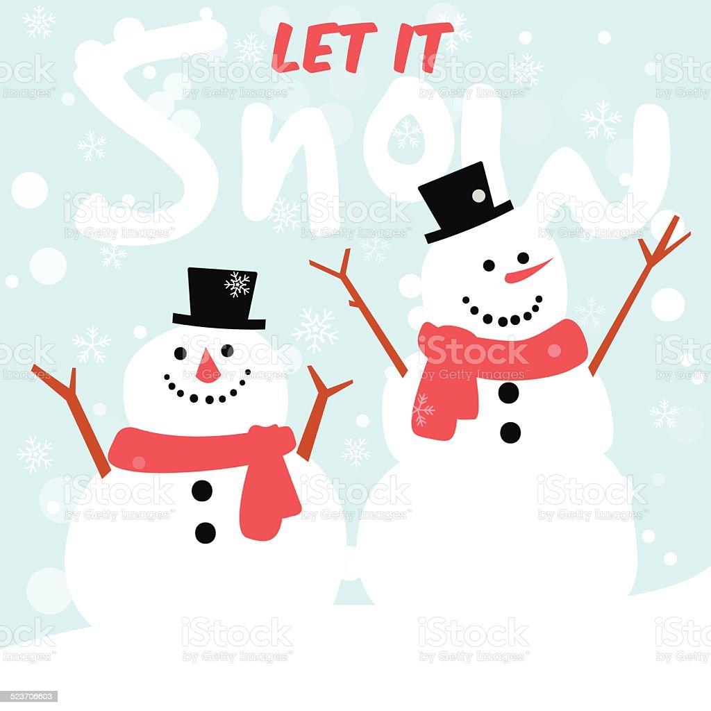 Bonhomme de neige voeux carte, joyeux Noël et bonne année - Illustration vectorielle