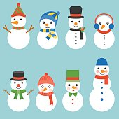 Snowman greeting collection illustration vector for Christmas, flat design