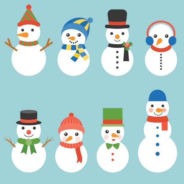 Snowman greeting collection illustration vector for Christmas Snowman greeting collection illustration vector for Christmas, flat design snowman stock illustrations