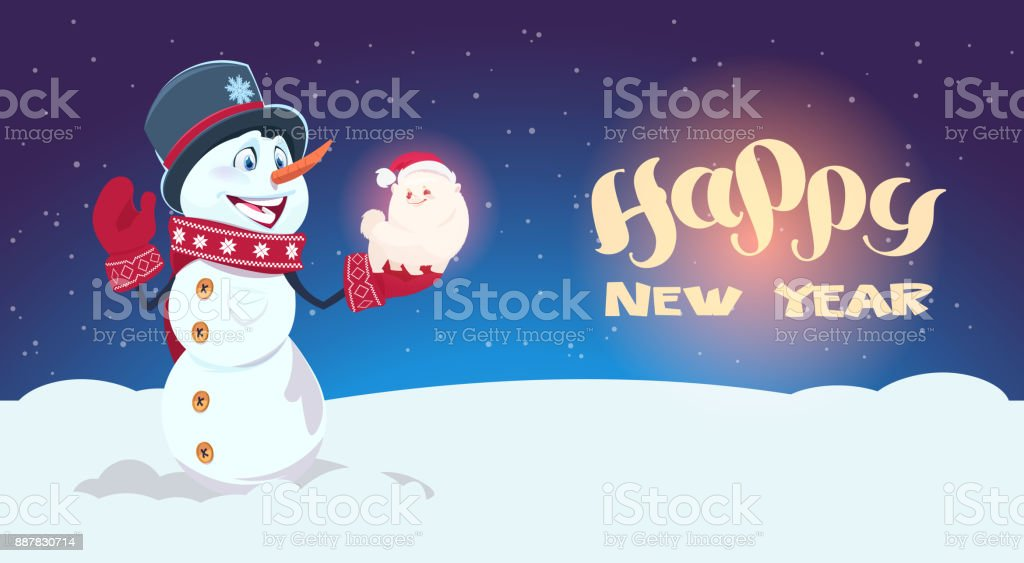 Snowman Hold Cute Dog Symbol Of New Year 2018 Decoration Holiday