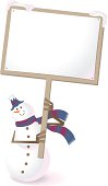 Vector illustration - Snowman holding a blank sign and showing something.