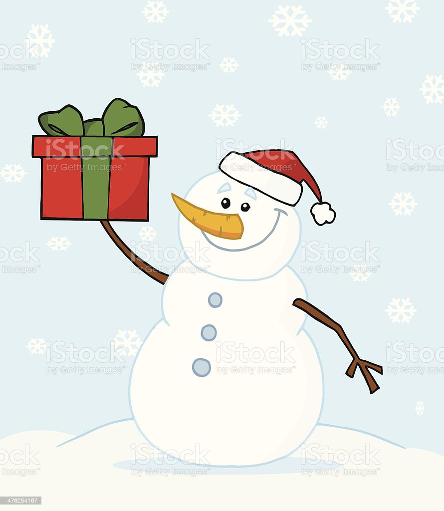 Snowman Holding A Gift With Background royalty-free snowman holding a gift with background stock vector art & more images of backgrounds