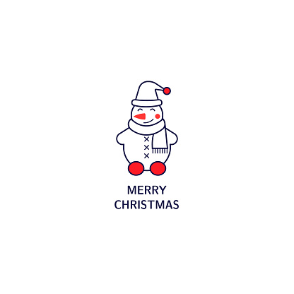 Snowman icon line style with decoration and text. Simple element for Christmas card, logo, print on t-shirt.