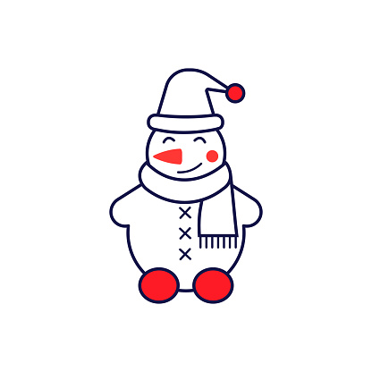 Snowman icon line style with decoration.