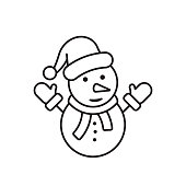 Snowman icon outline vector coloring page illustration.