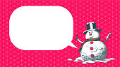 Snowman cartoon character engraved drawing vector illustration isolated on red geometric pattern background with blank space text balloon bubble for Christmas celebration