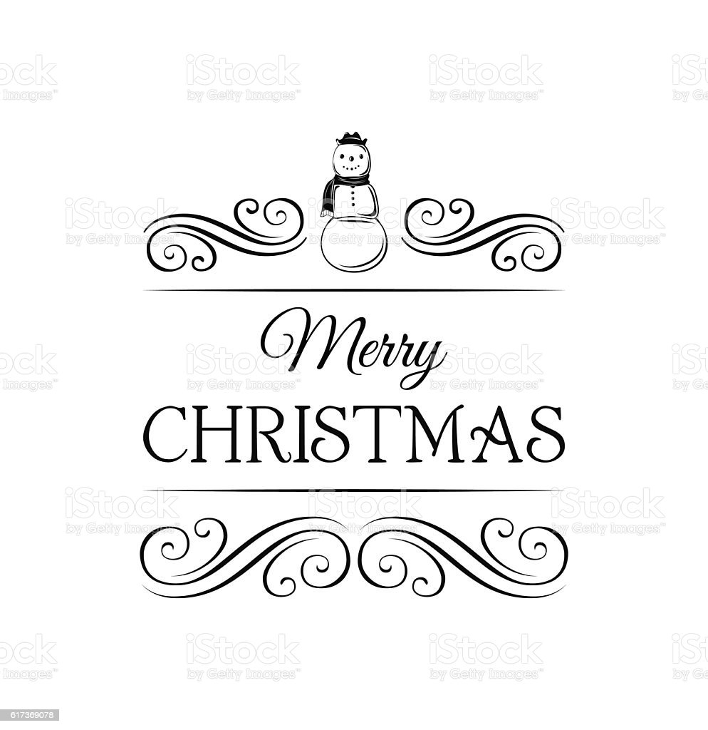 Snowman In Scarf And Hat Merry Christmas Label Template For Stock