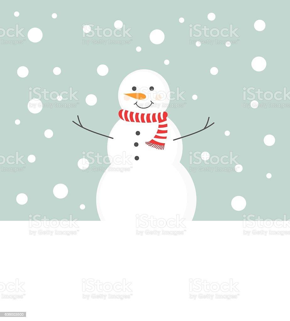 Bonhomme de neige avec écharpe - Illustration vectorielle