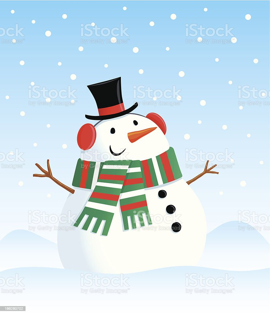 Snowman In Top Hat with Scarf royalty-free stock vector art