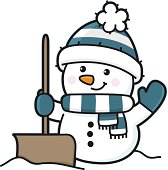 illustration of a happy snowman in winter with hat and scarf and snow shovel. EPS10.