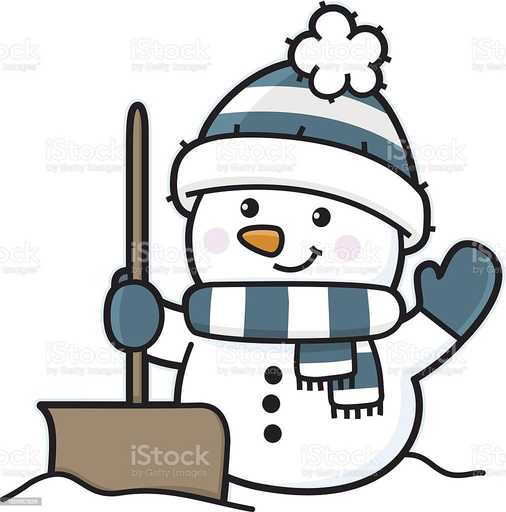 Snowman in winter with snow shovel / snowplow vector art illustration