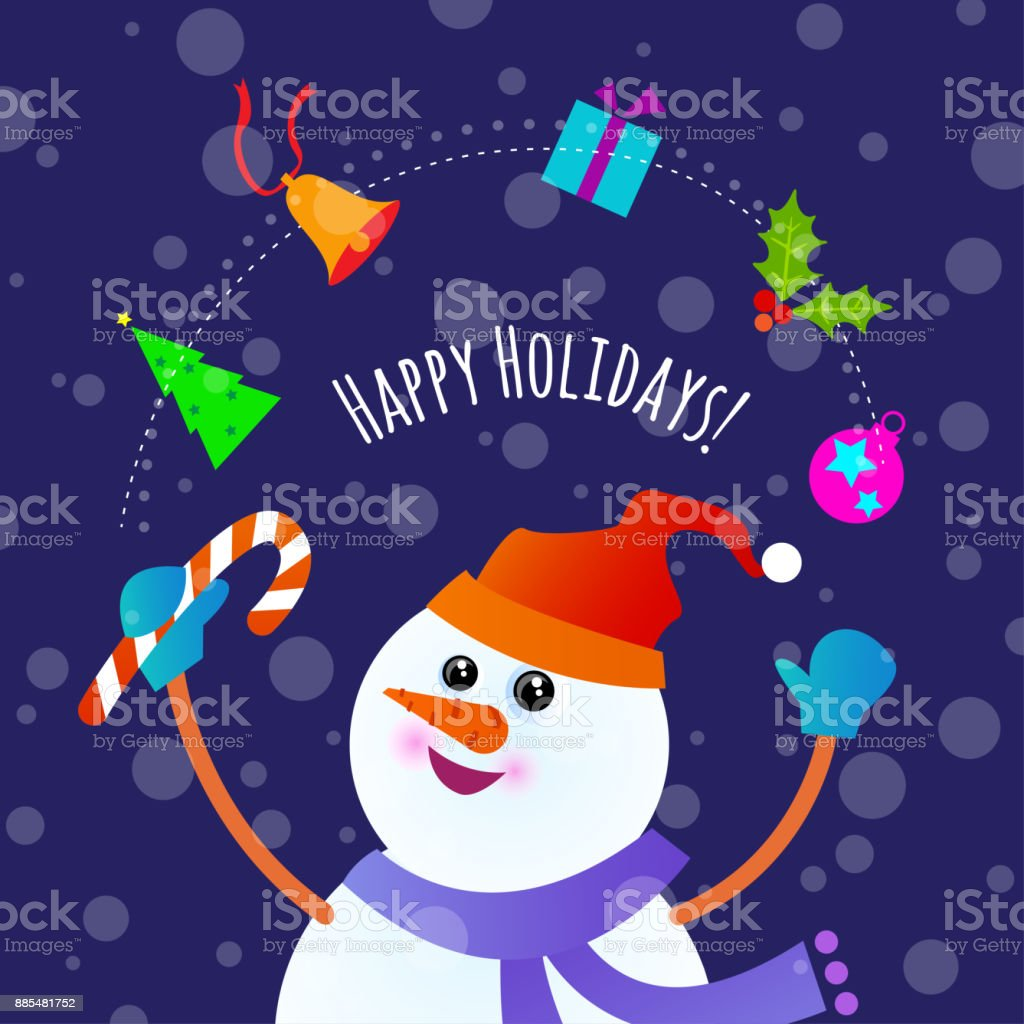 A banner with a cartoon vector illustration of Snowman juggling...