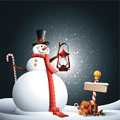 - snowman holding a lantern with blank road sign