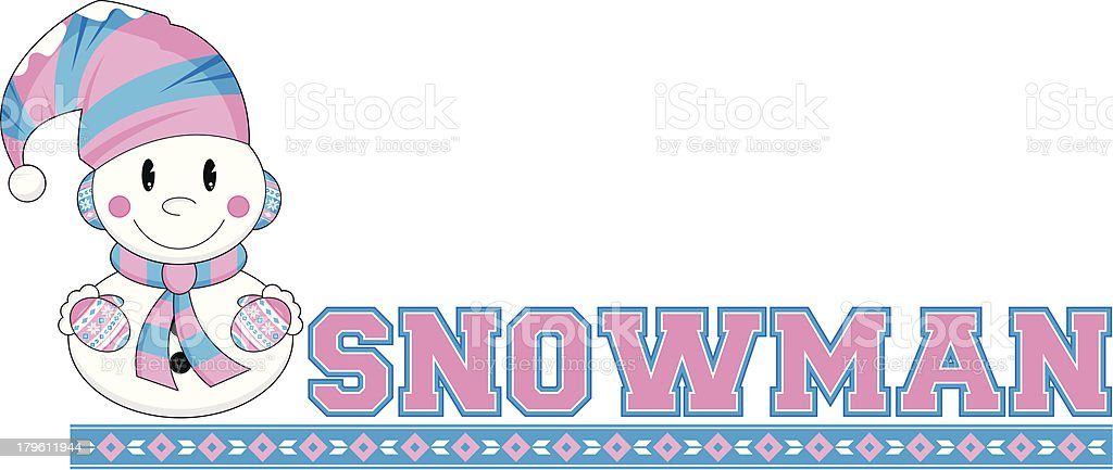 Snowman Learn to Read Illustration royalty-free stock vector art